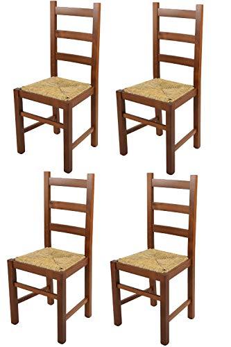 t m c s Tommychairs - Set 4 sillas Rustica para Cocina y Comedor, Estructura en Madera de Haya Color Nogal Claro y Asiento en Paja
