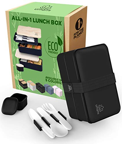 UMAMI Lunch Box, Cadeau Idéal Homme/Femme, Tout Inclus : 3 Couverts & 1 Pot À Sauce (Vissable), Boîte Bento Japonaise Hermétique 2 Étages, Micro-ondes & Lave-vaisselle, Zéro Déchet, Sans BPA