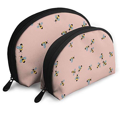 JUKIL Bee Yellow Seamless Pink Pattern Bolsas de cosméticos de Viaje para Mujer Bolsa de Embrague de Maquillaje a Prueba de Agua de 2 Piezas Bolsa de Organizador de cosméticos y artículos de tocador