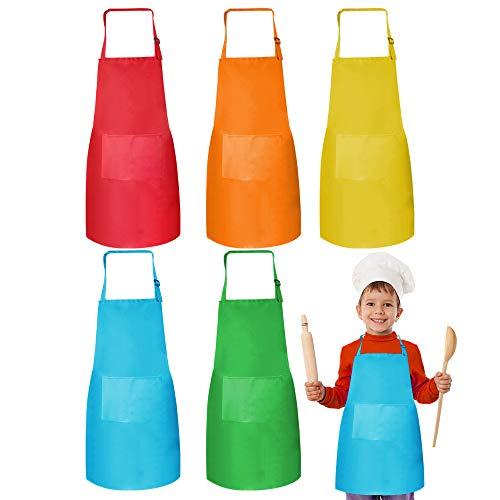 Heqishun 5 Piezas de Delantal de Niños con Bolsillo, Unisex Poliéster Delantal Infantil Ajustable Delantal Niño Manualidades para, Cocinar Smock, Escuela, Pintar (5 Colores)