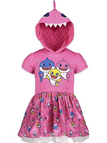 Vestido de festa com capuz para bebês e meninas Pinkfong rosa 2T