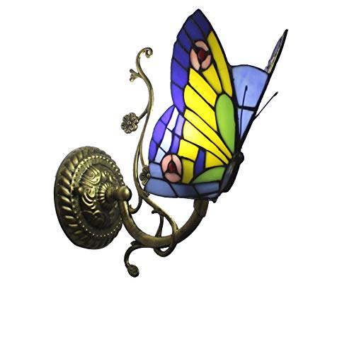 """Tiffany-Art-Wandleuchte 1 Licht Buntglas-Schmetterling Vintage antike Lampe für Schlafzimmer Wohnzimmer 7"""" Breite 12"""" Tall Geschenk,D"""