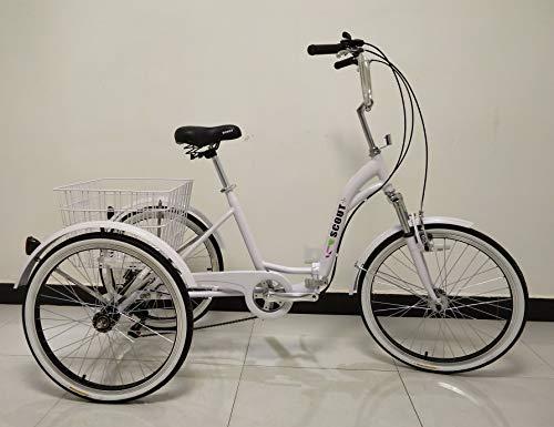 Quality Dreirad für Erwachsene, Dreirad, Klapprahmen, 6-Gang-Shimano-Getriebe, Alurahmen, Vorderradaufhängung (Weiß)
