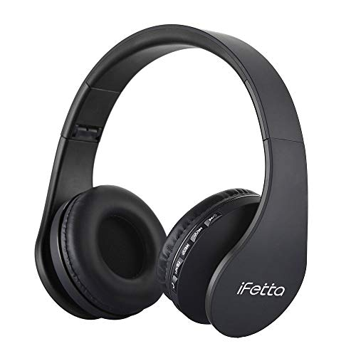 Ifecco Bluetooth Headphones, 4 in 1 Upgrade Bluetooth Foldable Over-Ear Headsets with Micro Support SD/TF Card Compatible with Bluetooth-Enabled Devices (Black)
