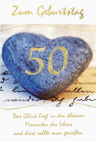 BSB Geburtstagskarte Geburtstagsgrüße Geburtstagswünsche zum 50. Geburtstag - Steinherz 5261500-2 weiß