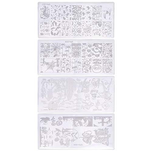 Lurrose 4 Piezas de Placas de Estampado de Uñas de Halloween Kit de Estampado de Uñas Calavera Fantasma Plantilla de Uñas Placa de Estampado de Esmalte de Uñas Placas de Sello de