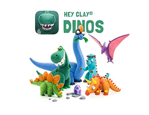 Hey Clay - Colorful Kids Modeling Air-Dry Clay, 18 Cans with Fun Interactive App (Dinos)