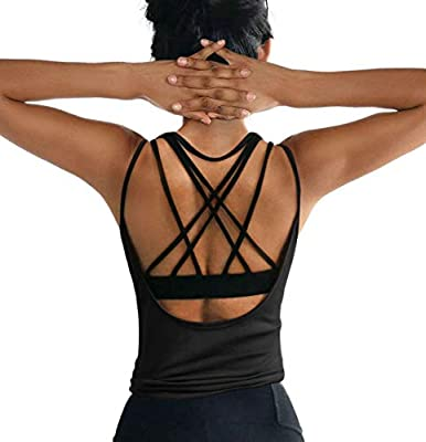OYANUS Womens Summer Workout Tops Sexy Backless Yoga Shirts Loose Open Back Running Sports Tank Tops Cute Muscle Tank Sleeveless Gym Fitness Quick Dry Activewear Clothes for Juniors Black S
