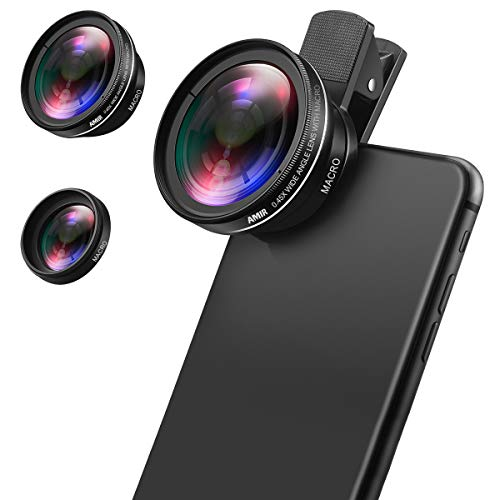 AMIR Phone Camera Lens, 0.45X Super Wide Angle Lens + 12.5X Macro Lens, Clip-On...