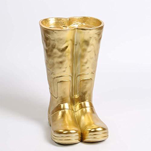 ZXD Schirmständer Keramik Regen Stiefel Schirmständer Haushaltsdekoration Kreative Anzeige Regenschirm Zahnrad Lagerung Regalständer,Gold