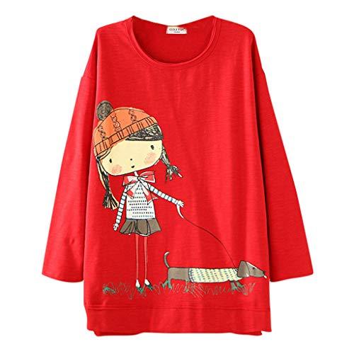 Camiseta de Manga Larga con Estampado de Dibujos Animados con Cuello Redondo para Mujer, Blusa Superior Informal de Talla Grande