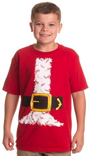 Santa Claus Costume | Jumbo Print Novelty Christmas Holiday Humor Youth T-Shirt-Youth,M Red