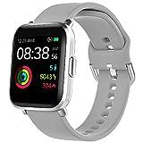 YONMIG Smartwatch, Reloj Inteligente Mujer Hombre con Oxigeno(SpO2), Pulsera Actividad Inteligente Impermeable 5ATM con Brújula Monitor de Sueño Contador Caloría Pulsómetros para Android y iOS (Gris)