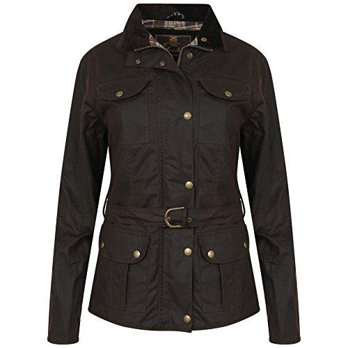 Elvedon Squire Damen Jacke, Braun, gewachste Jacke mit Gürtel, wasserdicht- Gr. EU 36 / UK 10, Braun im antik-finish