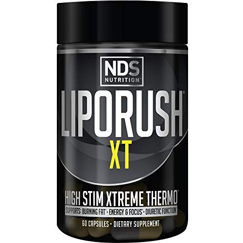 NDS Nutrition LipoRush XT - Super Concentrated Thermogenic with L-Carnitine and Teacrine for Shredding Fat - Supports Maximum Energy, Focus, Calorie Burning, Diuretic, Appetite Control (60 Capsules)