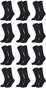 Tommy Hilfiger Pack de 12 calcetines para hombre negro 39-42