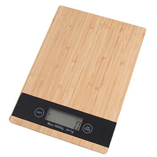 FREELX Báscula de Cocina Digital de Bambú con Pantalla LCD Electrónica, Básculas Electrónicas Multifunción con Función de Pelado, Precisión Multifuncional de 5 kg / 1 gc