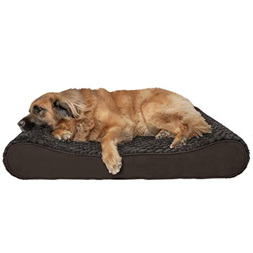 Furhaven Pet Dog Bed | Orthopedic Ultra Plush Faux Fur Ergonomic Luxe Lounger Cradle Mattress Contour Pet Bed w/ Removable Cover for Dogs & Cats, Chocolate, Jumbo Plus
