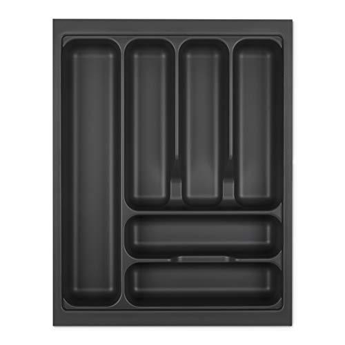 Orga-Box I Besteckeinsatz 369 x 473 lavagrau mit Perlstruktur für Blum Tandembox Antaro/Intivo u. ModernBox im 45er Schrank Besteckkasten