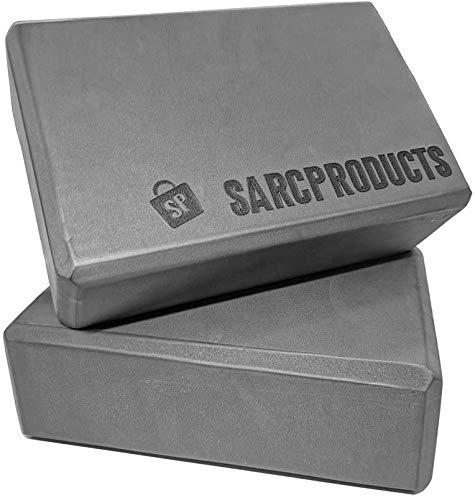 SARC Products Bloque de Yoga (2 uds.), Ladrillo de Yoga, Espuma de Alta Densidad, Estiramientos, de Yoga y Pilates, Corrector de Posturas (Gris)