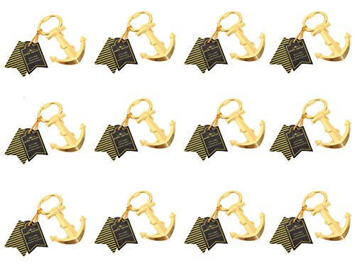 Skeleton Gold Anchor Bottle Opener with Exquisite Packaging, 12 Pcs Anchor Bottle Opener Beer Accessories Metal Stainless Steel Bottle Opener, Best Groomsman Gift (Anchor Gold)