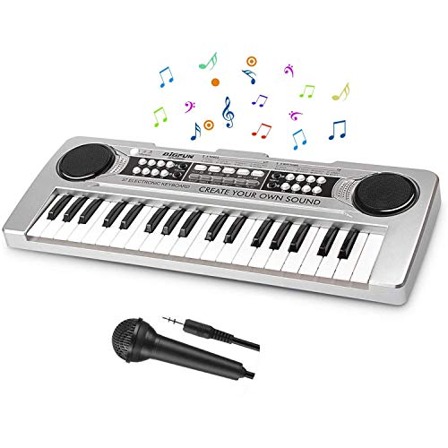 LYBALL Kids Piano 37 Keys Multi-Function Keyboard Piano Kids Toy Piano with Microphone & MP3 Music Function Kids Starter Music Keyboard Silver 16.92 inches