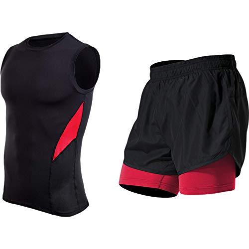Katenyl Pantalones Cortos Ajustados elásticos de Secado rápido para Hombre Costuras de Doble Capa Correr Fitness Ocio Tendencia cómoda Traje Deportivo de Todos los Partidos M