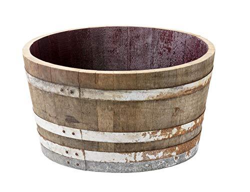 Temesso Holzfass, Weinfass halbiert aus Eichenholz rustikal -als Pflanzkübel oder Miniteich (mit Rollen)
