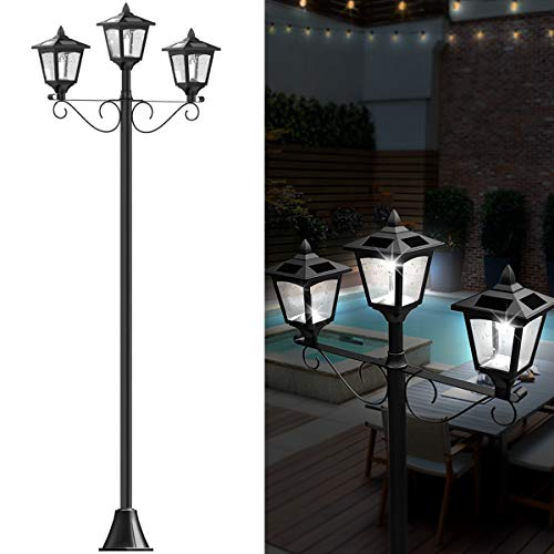 72' Solar Lamp Post Lights Outdoor, Triple-Head Street Vintage Solar Lamp Outdoor, Solar Post Light for Garden, Lawn, Planter Not Included