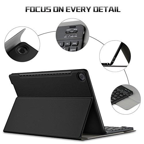 IVSO Tastatur Hülle für Huawei MediaPad M5 10.8, [QWERTZ Deutsches Layout] Keyboard Case, SmartShell Tastatur für Huawei MediaPad M5 10.8 Pro / M5 10.8 Zoll 2018 Modell, Schwarz - 5