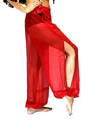 Bauchtanz Harem Hose zum Tanzen Tribal Tänzer Kostüm Yoga FANCY KLEID Leggings M L XL (ROT)