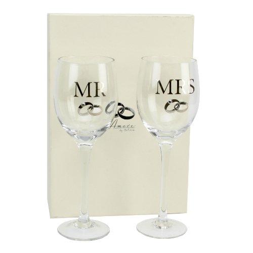Amore Mr and Mrs Wedding Wine Glass Set