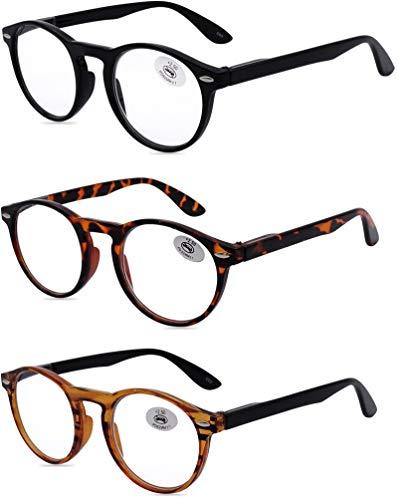 AMILLET Occhiali da lettura rotondi,3 pezzi lettori per uomo e donna,occhiali con cerniere a molla stile retrò, 3 colori con confezione regalo(+1.75 tre colori misti)