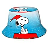 Sombrero de Pescador Sn-oopy de animación navideña, protección UV de Verano, Sombreros de Cubo de Viaje, Gorra de Playa Plegable para Hombres y mujeres-2GS