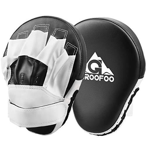 GROOFOO PU Handpratzen Doppelpolster Kickboxen Boxen Pratzen Für das Target Sparring Training, Boxen Pads für Kinder & Erwachsene MMA, Muay Thai, Karate, Dojo, Taekwondo - Schwarz-Weiss
