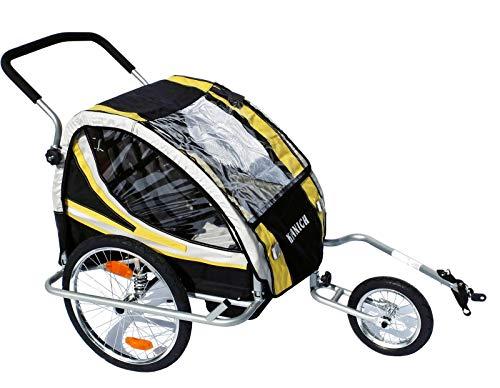 KRANICH 66526 - Remorque vélo / jogger à suspension - 2 enfants - Certifié TÜV/GS
