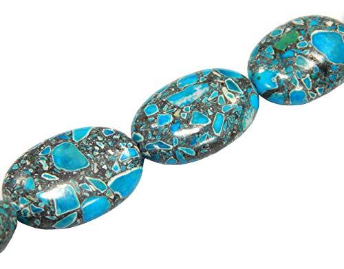 Perlin - Hilo de piedras preciosas turquesas de 28 x 18 mm,...