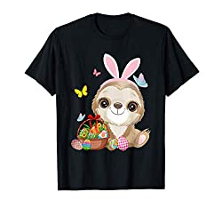 Funny Sloth Bunny Ear With Eggs Basket Easter Costume Rabbit T-Shirt