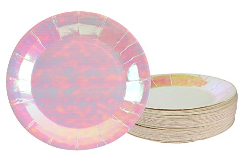 Disposable Plates - 48-Pack Paper Plates Party Supplies for Appetizer, Lunch, Dinner, and Dessert, Kids Birthday Party Favors, Pink Holographic, 7 x 7 Inches