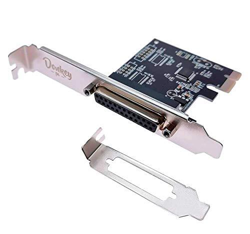 Donkey pc - 1 Port Parallel en PCI Express. Tarjeta y Adaptador de Interfaz Interno Paralelo con Transferencia de hasta 1,5 Mbps. Tarjeta controladora de Puerto de Impresora Db25 Paralelo.