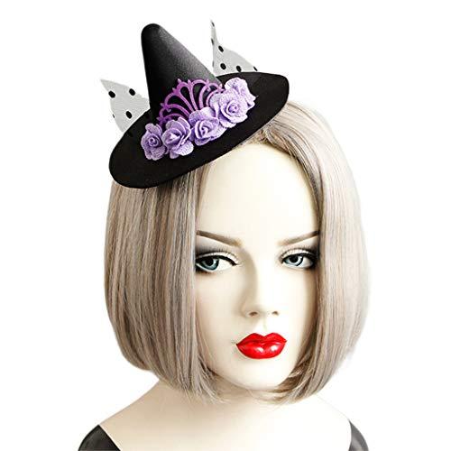 JOYKK Femmes Parti Polka Pot Net Hairclip Sorcière Top Chapeau Violet Fleur De Mariage Partie Bandeau Filles Dames Cheveux Accessoires Décoration