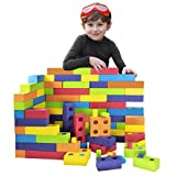 Playlearn Jumbo Foam Building Blocks with Peg Connectors – 80 Pieces - Multi-Colored Stacking Blocks for Kids – Safe Non-Toxic EVA Foam