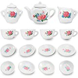Liberty Imports 17 Piece Rose Flower Miniature Porcelain Ceramic Tea Set - Pretend Play Kids Toy Mini Kitchen Playset