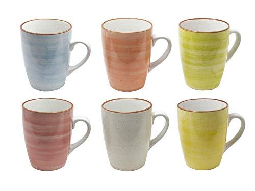 6er Set Kaffee Becher Tassen Tee Kakao Pott Uni bunt Modernes Design ca. 350 ml (Grün,Gelb,Rot,Orange,Hellblau und Natur)