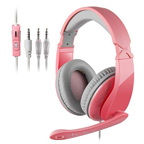 Pink Stereo Gaming Headset with Mic for PS4, PS5, Xbox One, PC, Mobile, Switch, 3.5mm Jack Noise Cancelling Gamer Headphones Lightweight Over Ear Headphones