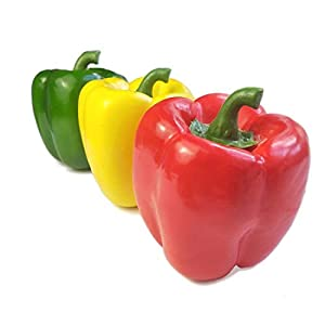 Lorigun Artificial Bell Peppers Fake Veggies for Decoration Colorful Artificial Fruits for Vegetable Bowl Home Decor 3 Pcs (Red+Yellow+Green)
