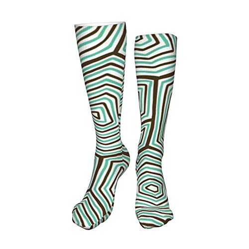 ZVEZVI Patrón de concha de tortuga adornado Hombres y mujeres Calcetines deportivos de algodón Cojín Casual con absorción de humedad 50 cm / 19,8 pulgadas