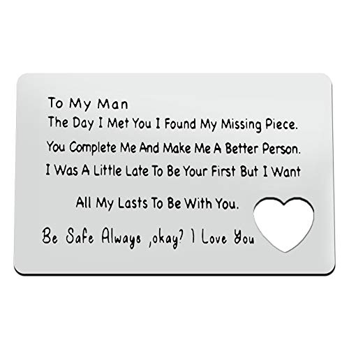 Engraved Wallet Insert Card Valentine's Day Jewelry Metal Wallet Insert Card Gift for Men Husband Boyfriend to My Man Gift Anniversary Card Gifts for Men Wedding Birthday Gift for Fiance Couple Gift