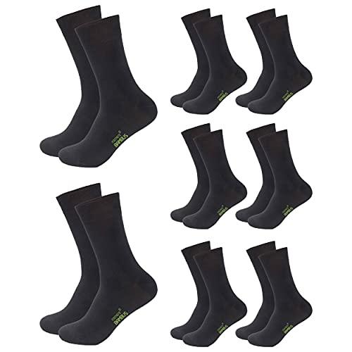 FOOTNOTE 8 Paar Atmungsaktive Bambus Socken Herren Damen, schwarz, Größe 43-46
