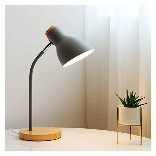 Lámpara de mesa de estilo nórdico plegable de hierro de arte de madera de múltiples ángulos, lámpara de mesa de lectura de protección para los ojos, sala de estar, dormitorio, decoración del hogar (co